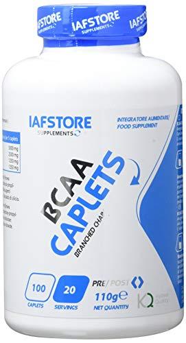 Iafstore Supplements BCAA Caplets integratore alimentare a base di aminoacidi ramificati BCAA qualità Kyowa nel rapporto 2:1:1 (100 compresse)
