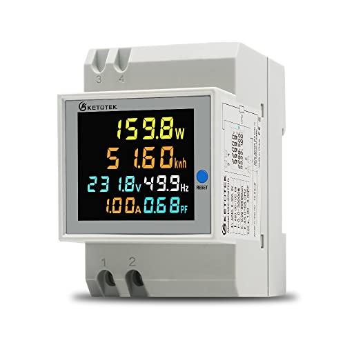 KETOTEK 6 in 1 Misuratore Digitale Multifunzione AC40-300V 100A Voltmetro Amperometro, Guida Din Tensione Corrente Amperaggio Potenza Energia Fattore di Frequenza Multimetro