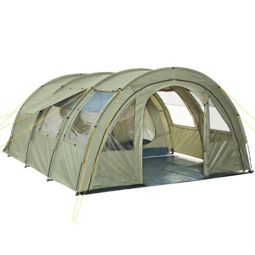 CampFeuer Tenda a tunnel tenda multipla per 4 persone | enorme vestibolo, 5000 mm di colonna d'acqua | con telo e parete anteriore regolabile | tenda da campeggio tenda familiare (oliva/verde)