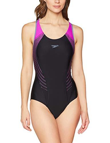 Speedo Fit Laneback, Costume da Bagno Donna, Multicolore (Black/Violet), 32 (IT 42)