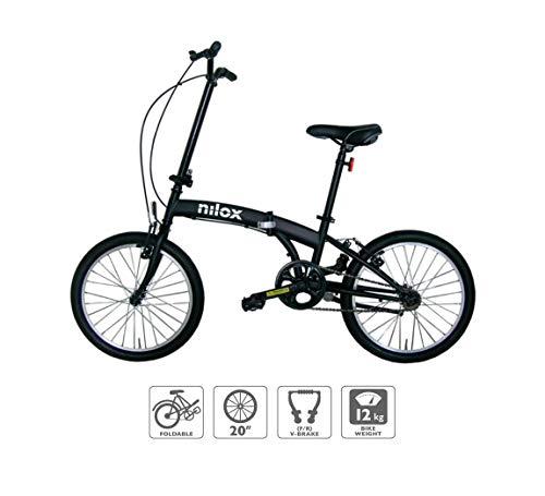 Nilox, Bike X0, Bici Pieghevole, Facile da Trasportare, Design Moderno, con Telaio Opaco in Acciaio, Bicicletta Leggera, 12 kg di Peso, con Cerchi in Alluminio da 20'