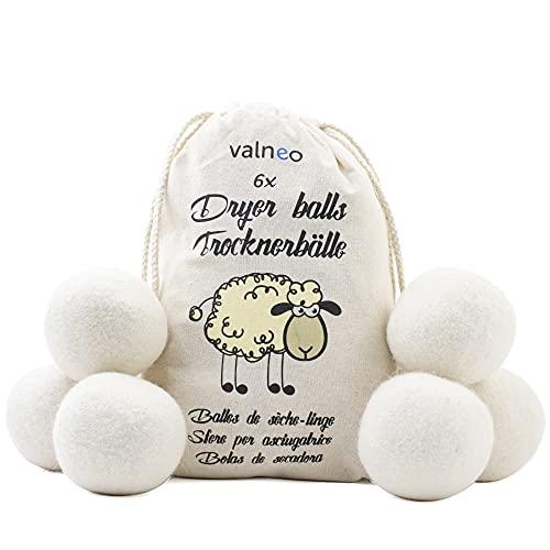 valneo Palline per asciugatrice, Lana di Pecora Naturale al 100% - Riduce Le Rughe, risparmia Tempo di Asciugatura