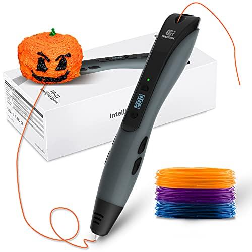 GEEETECH, penna 3D per stampa 3D, schermo LCD intelligente, 1,75 mm, compatibile con filamento PLA/ABS, adatta per bambini e adulti,grigio