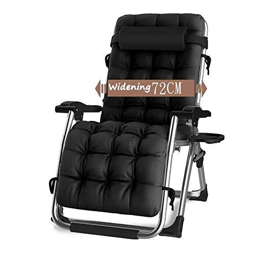 CHAIRQEW Sedie da Giardino Patio reclinabili per Persone Pesanti Sedie a Sdraio per Giardino a gravità Zero Sedie a Sdraio da sole200kg (Color : Black)