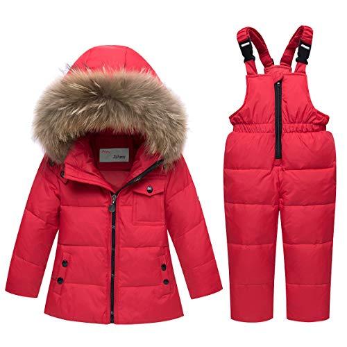 Tuta da Sci Bambino Piumino con Cappuccio + Pantaloni da Sci, 2 Pezzi Tuta da Neve Snowsuit Caldo Invernale Salopette Giacca Cappotto Pantaloni da Neve, Rosso 4-5 Anni