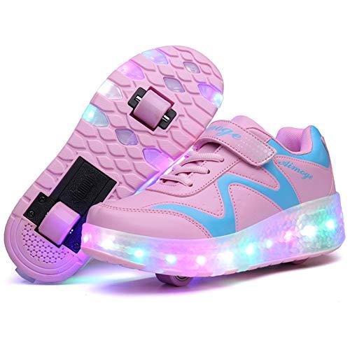 Unisex Bambini e Ragazze Scarpe da LED Luce Scarpe con Singolo Doppia Ruota Skateboard USB Ricaricabile Sportive con Rotelle Automatiche Ruota Multisport Ginnastica Running Sneaker