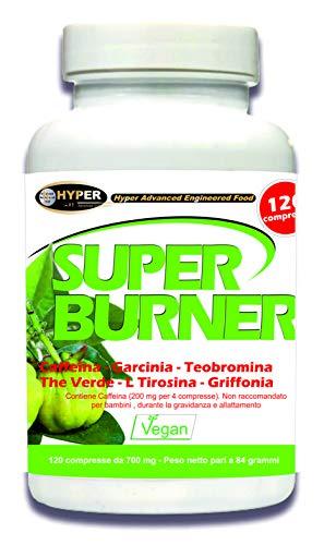 Super Burner Bruciagrassi Dimagrante Potente 120 Compresse Dimagranti Forti Dimagrire Velocemente Pancia Cosce Glutei Brucia Grassi Termogenico per Perdere Peso Soppressore dell'appetito