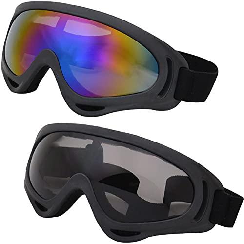 shajiahao Occhiali da Sci,2 Pezzi Occhiali da Esterno,Occhiali di Protezione UV,Occhiali da Sci per Uomo e Donna,Antivento Occhiali da Neve,Occhiali da Motocicletta, per Ciclismo,Arrampicata,Sci,Surf