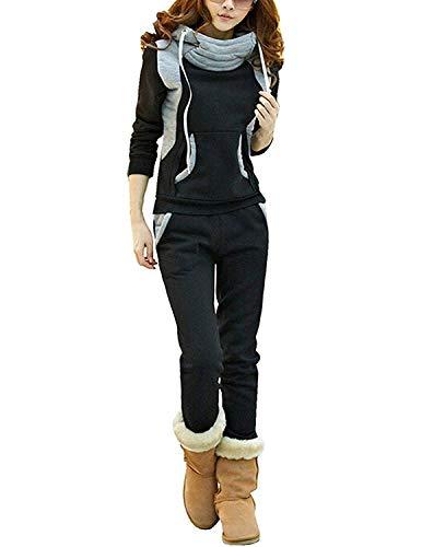 BUOYDM Tuta Donna Sportiva Completa Felpa Cappuccio Collo Alto & Pantaloni 2 Pezzi Completo Sportivo Autunno Inverno Nero L