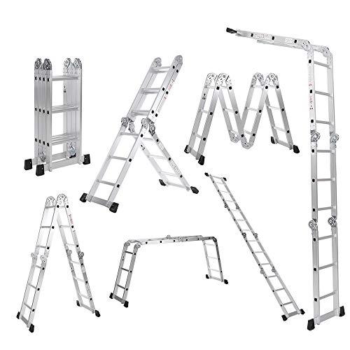 Festnight 7 in 1 Scala Alluminio, Scala Telescopica Scala Alluminio Pieghevole, Multifunzionale Scala Retrattile, capacità Max.150kg, EN131 Approvato