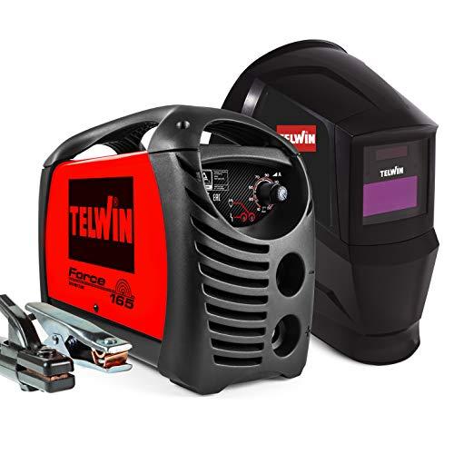 Telwin 815863 Force 165 Saldatrice Inverter ad Elettrodo con Maschera Automatica e Accessori di Saldatura, 230 V, 4,23 kg, Rosso, Force 165 con maschera e accessori