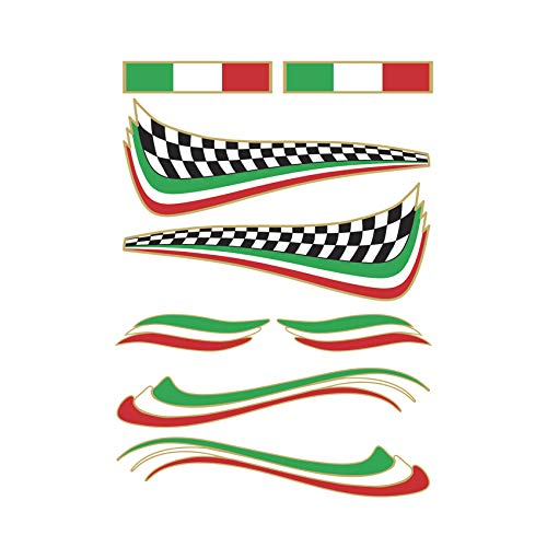 Adesivo Bandiera Italiana - kit 8 pezzi - Stickers decalcomania in pvc adesivo per esterno ideale per Casco, Monopattino, Tuning Auto, Segway, Bici, Bike, Hoverboard
