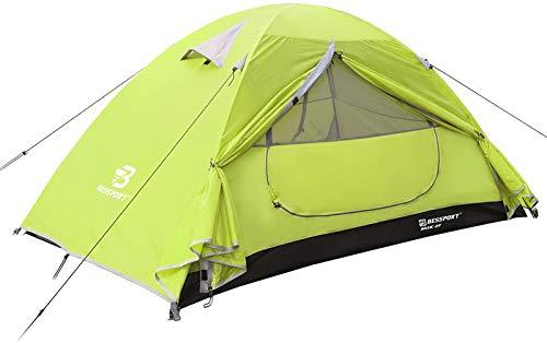 Bessport Tenda Campeggio per 2 Posti Tenda, Impermeabile a Due Porte con Borsa per Il Trasporto Facile da Montare, Tende per Zaino in Spalla per Viaggi di Coppia, Escursioni Outdoor
