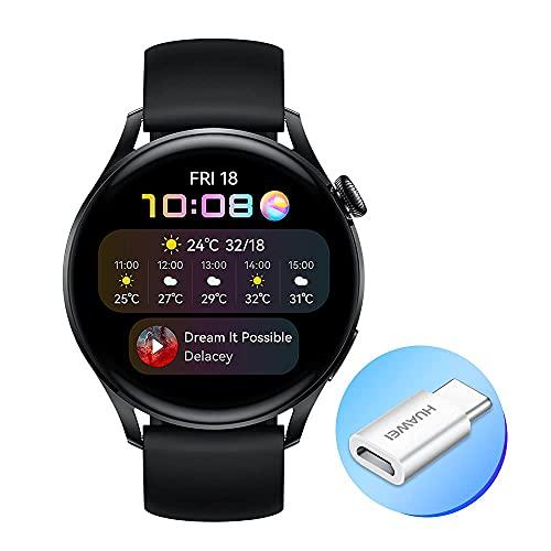 HUAWEI WATCH 3 - Smartwatch 4G AMOLED 1,43 pollici, AP52, chiamata eSIM, batteria fino a 3 giorni, saturazione ossigeno, frequenza cardiaca 24/7, GPS, 5ATM, cinturino fluoroelastomero Black