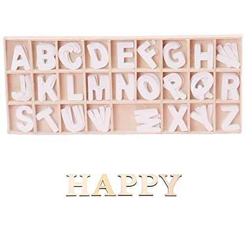 Sprießen Decorazioni Artigianali Fai-da-Te, Lettere in Legno (5 Lettere per Lettera) Totale 130, Separate da Divisorio in Legno in Una Pratica Scatola