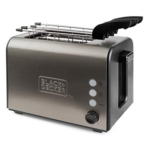 Black+Decker BXTOA900E Tostapane, 900 W, Acciaio Inossidabile, Grigio
