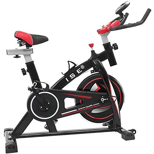 ISE Spinning Bike Ergonomica, Bicicletta Cyclette da Allenamento, Volano di Inerzia 10 kg, Salvaspazio & Silenzioso Fitness, Max.120 kg, SY-7802