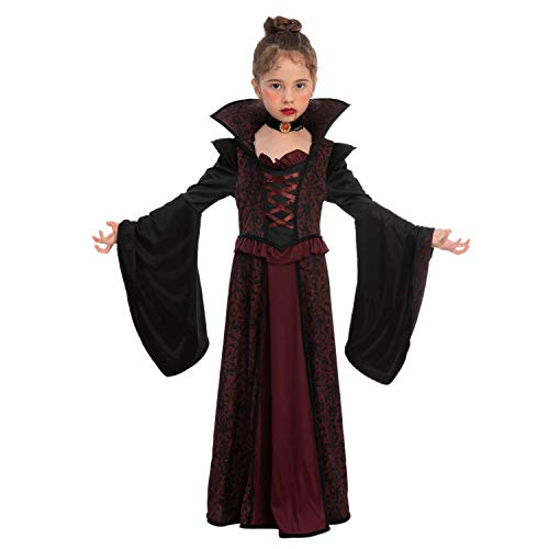 Spooktacular Creations Royal Vampire Costume Set for Girls Halloween Dress Up Party, Role-Playing, Carnival Cosplay, Vampire-Themed Party (Medium ( 8- 10 yrs))