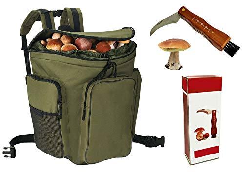 Coltello + Cesto zaino in vimini porta funghi verde gerla cesta montagna raccolta funghi cm. 41x28,5 x38,5h