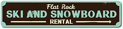 BCTS - Cartello per sci e snowboard personalizzato per noleggio sci e frecce, cartello stradale per esterni e metropolitana, 4 x 16 cm