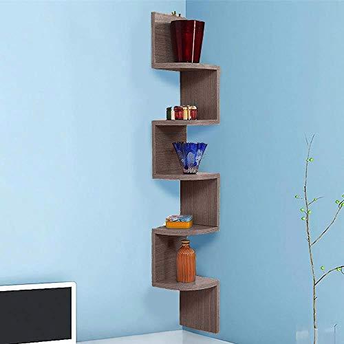 BAKAJI Libreria Scaffale Mensole da Parete Angolare Design Moderno in Legno Melaminico con 5 Ripiani ad Angolo Dimensioni 123 x 20 cm (Grigio Rovere)