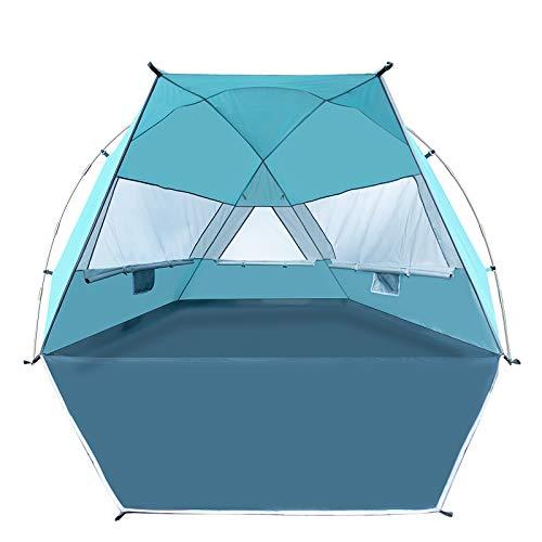 Forceatt Tenda da spiaggia per 3-4 persone, UPF50 + tenda da spiaggia ombreggiante argentata, Leggera e facile da trasportare e montare, la tenda può essere utilizzata anche in giardini o parchi.