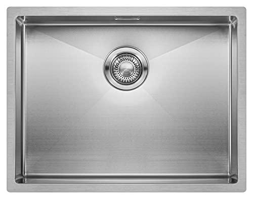 Lavello da Cucina in Acciaio Inossidabile MIZZO Linea   Lavandino a Incasso, Filotop o Sottotop   Spessore 1.2mm   Vasca Singola Quadrata in Acciaio Inox   Raggio Interno da 10 mm (55 cm)