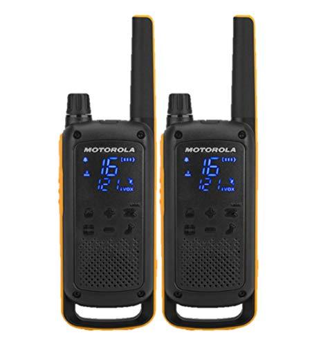 Motorola Twin Pack TLKR T82 Extreme PMR Dispositivo (Portata Fino a 10 km, IPX4 Protezione dalle intemperie, 500 MW, Vox), ABS, Nero, 2 unità