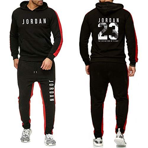 Jordan # 23 Tuta Uomo Autunno Inverno Felpa Con Cappuccio Con Coulisse Pantaloni Maschio Felpe Da Pallacanestro Abbigliamento Da Allenamento, Nero, L