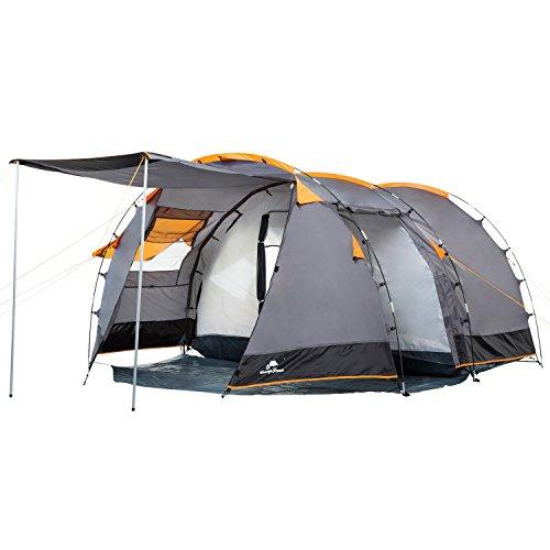 CampFeuer Tenda Tunnel per 4 persone Super+ | Tenda grande familiare con 2 ingressi e 3.000 mm di colonna d'acqua | Tenda collettiva | Tenda da campeggio (arancione/grigio)