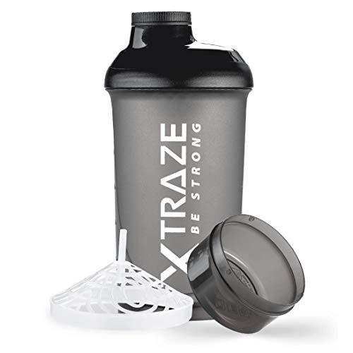 XTRAZE Shaker per Proteine 500 ml con Compartimento per la Polvere 150 ml, senza BPA, Borraccia Fitness a Tenuta Stagna con Scala Graduata, Filtro per Frullati Proteici Cremosi e senza Grumi, Nero