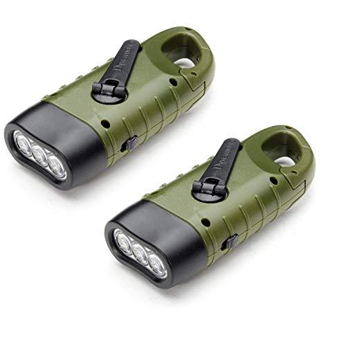 VADIV Torcia Elettrica LED Solare e Manovella Ricarica Flashlight Portatile Moschettone Pila led Ricaricabili per Campeggio Escursione che Alpinista Lampade per Attività all'aperto- Verde (2 Pezzi)
