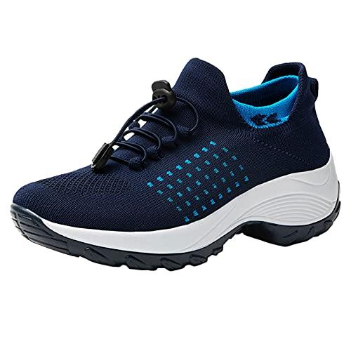 Senza Lacci Sneakers Donna Scarpe da Ginnastica Scarpe Running Traspirante Tessuto Leggere Fitness Scarpe Sportive (A55-Blue,40)