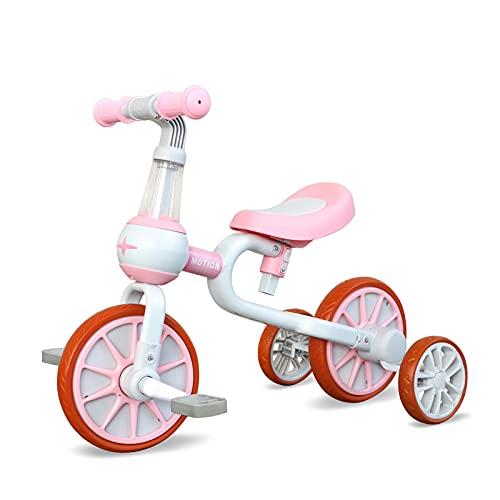 YGJT Triciclo per Bambini 2-4 Anni, 3 in 1 Bicicletta con Pedali Staccabile e Ruote da Allenamento, Regalo compleannno (Rosa-1)