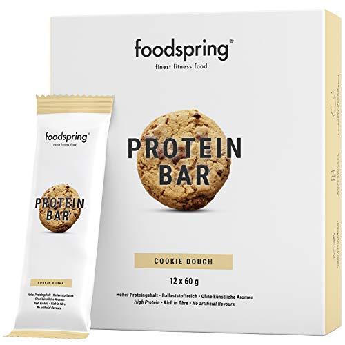 foodspring Barrette proteiche, Biscotto Cookie, 12 x 60g, 33% di proteine, A ridotto contenuto di zuccheri, Perfette dopo l'allenamento o come snack da viaggio