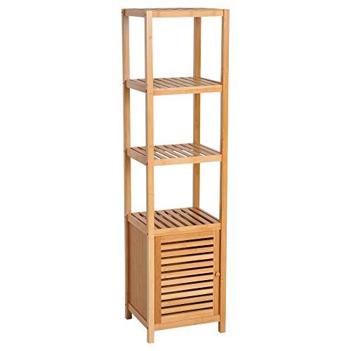 homcom Mobile Alto Bagno/Terrazzo, Scaffale a Torre in bambù 4 Ripiani + Armadietto con Anta, 36x33x140cm, Color Legno