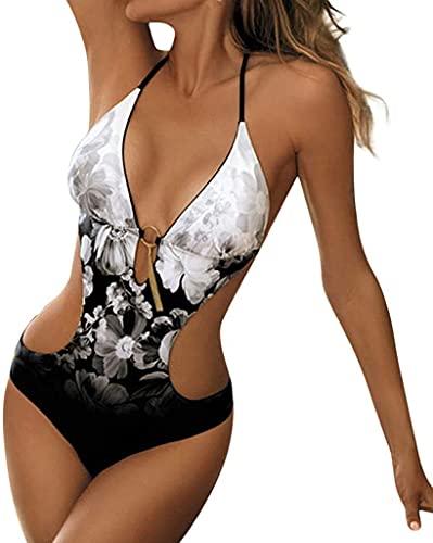 JFAN Costumi da Bagno Interi Donna Trikini Costume da Mare Spiaggia Piscina Sexy Costume da Bagno Intero Donna con Push-up Imbottitura