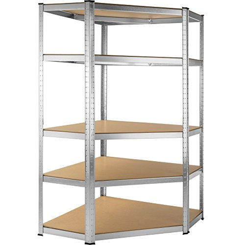TecTake Scaffale da officina armadio magazzino garage - modelli differenti - (Scaffale angolare 5 ripiani   No. 402504)