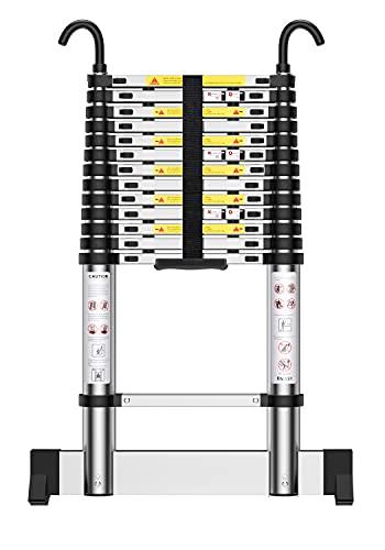 Teenza Scala Telescopica in Alluminio 4,9m, Scaletta Pieghevole con Barra Stabilizzatrice Gancio, Carico di 150 kg, Leggero e Flessibile