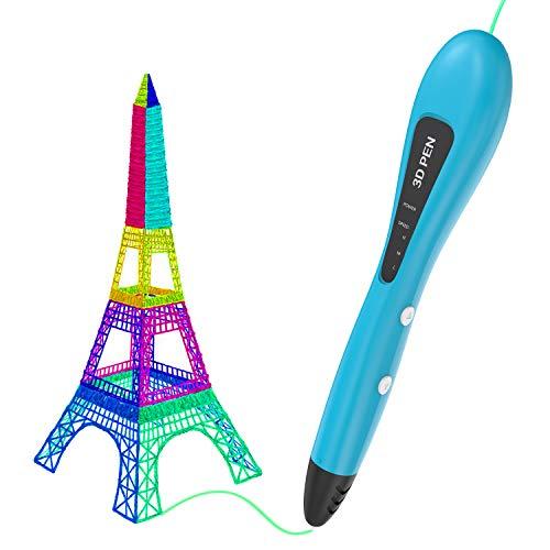 Penna 3D, GVOO 3D Penna Stampa con Schermo LCD + 4 Colori di Filamento PCL, Bassa Temperatura e 3 velocità Regolabile, Compatibile con PCL Filamenti
