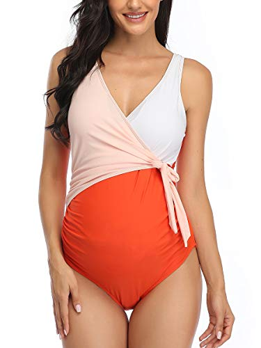 Summer Mae Costume da Bagno Premaman Donna maternità Intero da Spiaggia Multicolore S