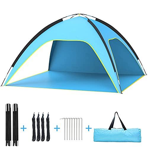 Tenda da spiaggia, tenda da sole portatile da spiaggia per protezione UV UPF, tenda da sole per 3-4 persone, tenda da spiaggia anti-UV per pesca, escursionismo, campeggio