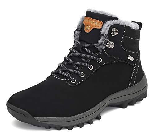 Pastaza Stivali da Neve Uomo Donna Trekking Scarpe Inverno Impermeabili Outdoor Pelliccia Sneakers Nero,41EU