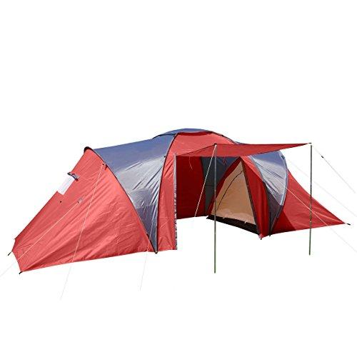 Tenda da Campeggio Igloo a Cupola per 6 Persone Loksa 210x570x185cm Rosso