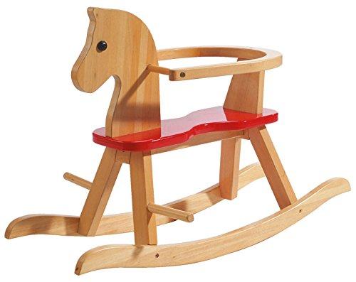 roba Cavallo a Dondolo in Legno Massiccio Naturale Laccato Rosso, Staffa di Protezione Amovibile in Base alla Fase di Crescita del Bambino