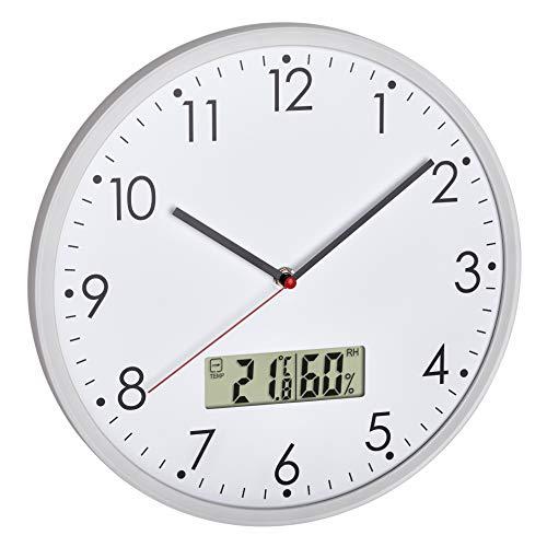TFA Dostmann Orologio analogico da parete con termometro digitale e igrometro per il controllo del clima della stanza, vetro argento bianco Ø 302 x H 47 mm
