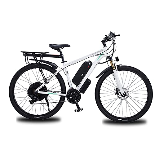 Bici Elettriche da Mountain Bike 29'E-MTB Bicicletta 1000W con Batteria agli Ioni di Litio Rimovibile 48V 13A per Uomo, Cambio A 21 velocità, Doppi Freni A Disco,Bianca,29 inch