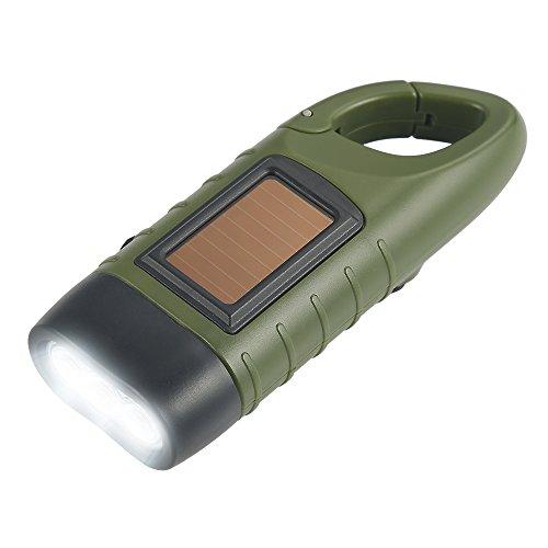 Simpeak Torcia Elettrica LED Portatile con Batteria Solare Ricarica Tascabile con Manovella Ricaricabile Ideale per Campeggio Ciclismo Trekking Caccia Attività all'Aperta, Verde