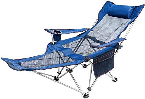 Sedia da Campeggio, Sedia Portatile Pieghevole Reclinabile con Poggiapiedi a Rete per Pesca Backpacking Trekking Picnic Pesca Spiaggia Giardino Uverbon