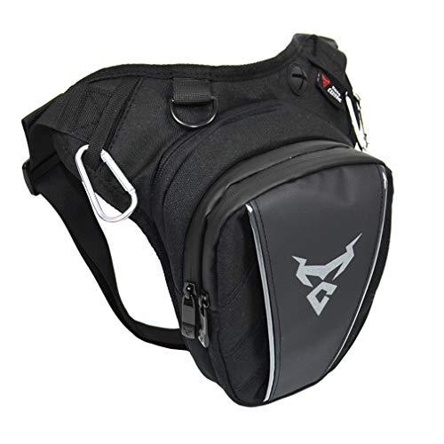 Marsupio da gamba per moto Oxford, per uomo e donna, coscia, vita posteriore, cintura, per attività all'aria aperta, viaggi, escursioni, cyling Tactical Outdoor, black Gray